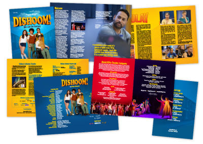 Programme for a tour of the new musical theatre play Dishoom!