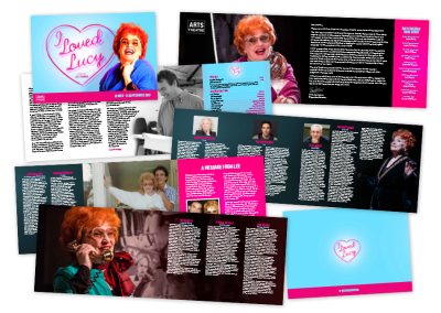 Landscape theatre programme design for the play I Loved Lucy at the Arts Theatre, London, UK