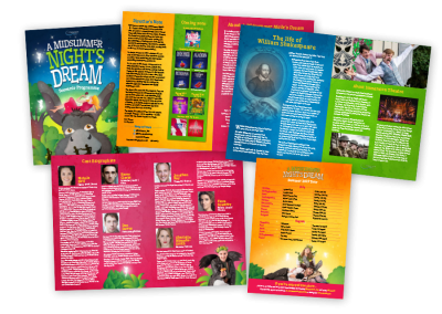 A5 theatre programme design for a touring outdoor theatre production of Shakespeare's A Midsummer Night's Dream