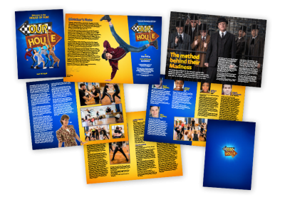 A4 musical theatre programme design for the UK tour of Our House