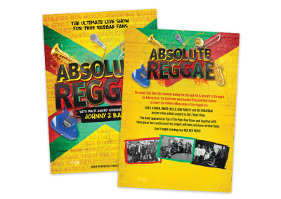 Touring show leaflet design for a tribute act concert, Absolute Reggae, performing reggae hits