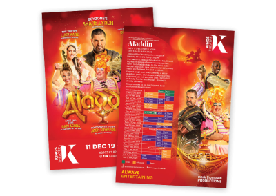Pantomime flyer leaflet for the Christmas family theatre show Aladdin, a pantomime in Portsmouth UK in December 2019
