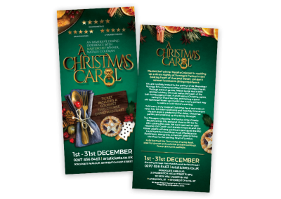 DL theatre flyer design for the festive dinner show A Christmas Carol in London UK