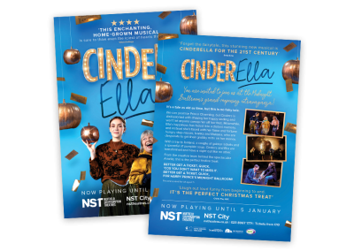 Double-sided A5 theatre flyer for the family musical CinderElla in Southampton UK in 2019, featuring commissioned photos and production photography