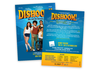 Theare flyer for Dishoom!, a British Asian touring show featuring Bollywood music