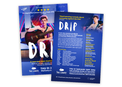 Theatre leaflet design for the musical comedy Drip's UK tour