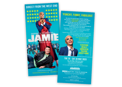 Musical theatre leaflet design for the number one UK tour of Everybody's Talking About Jamie