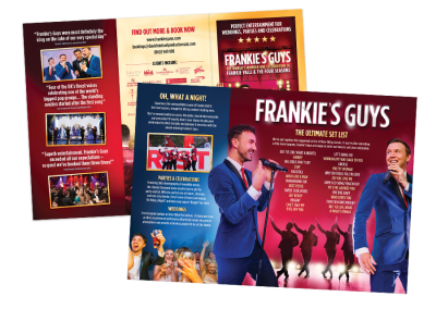 DL trifold tribute show theatre leaflet design for Frankie's Guys tribute act
