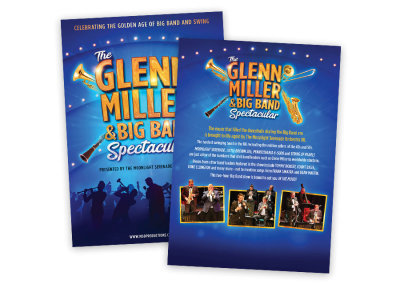 A5 double-sided leaflet flyer design for The Glenn Miller and Big Band Spectacular touring music show