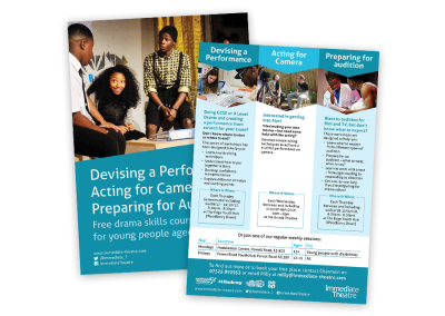 Leaflet design for Immediate Theatre promoting theatre and performance courses for young people