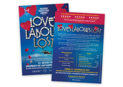 Shakespeare theatre leaflet design for Love's Labour's Lost A6 double sided