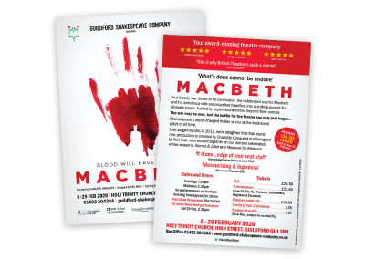 A6 two-sided theatre flyer design for UK production of Shakespeare's Macbeth