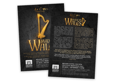 Double-sided bilingual touring show leaflet for the UK tour of Made in Wales featuring music and poetry