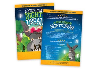 Theatre flyer design for a family-friendly outdoor theatre touring production of Shakespeare's A Midsummer Night's Dream featuring original illustration