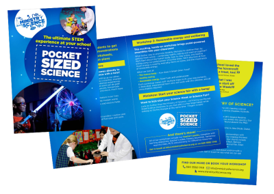 Four-page A5 leaflet for the live science show Pocket Sized Science, an educational children's theatre performance
