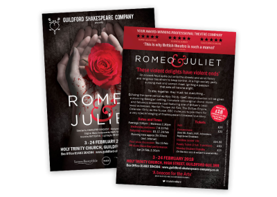 Theatre leaflet design for Shakespeare's Romeo and Juliet A6