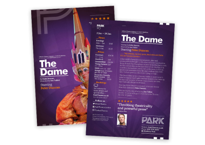 Theatre flyer design for the play The Dame, using the A5 double-sided leaflet template from the UK's Park Theatre