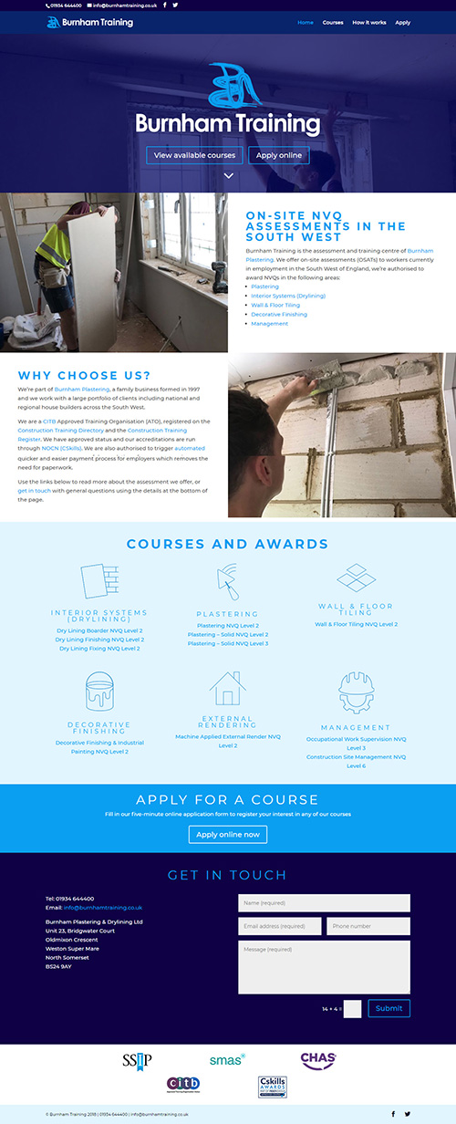 Burnham Training website design for plastering and drylining small business