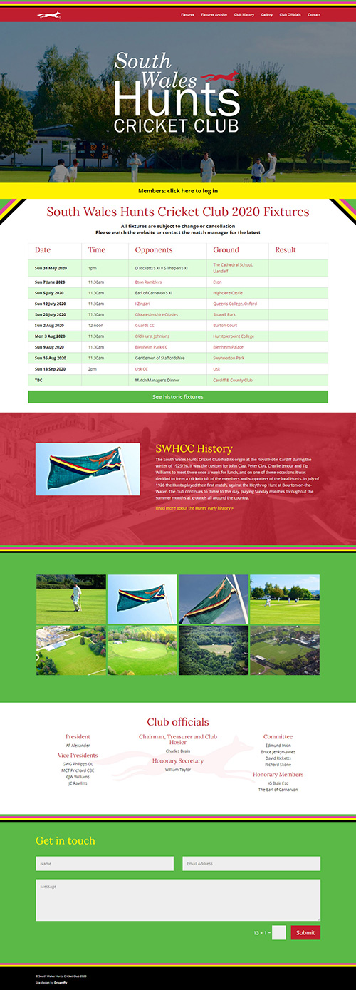 Wordpress-based website design for South Wales Hunts Cricket Club