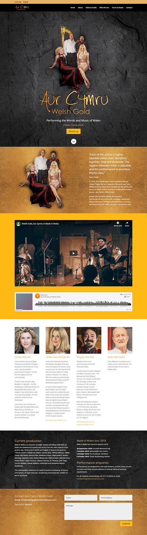 Theatre tour website design with CMS for Aur Cymru Welsh Gold