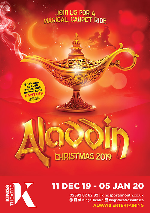 Pantomime poster design UK for 2019 Portsmouth panto Aladdin