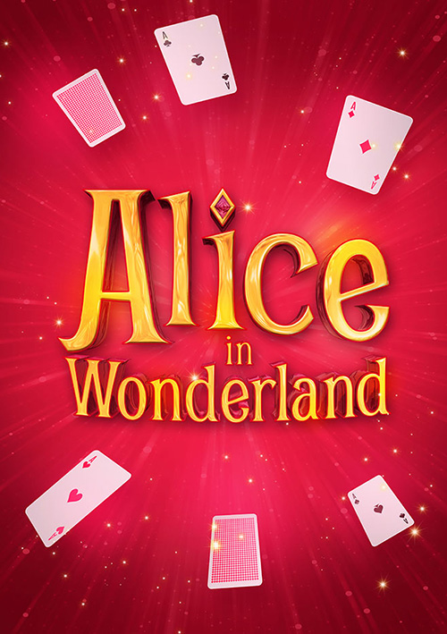 Musical children's show poster title graphic design for family show Alice in Wonderland