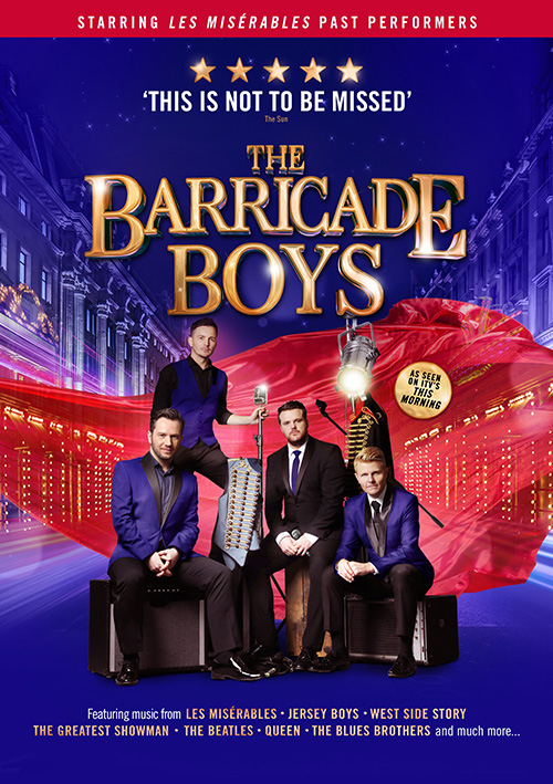 Graphic design for the touring concert show Barricade Boys featuring West End singers