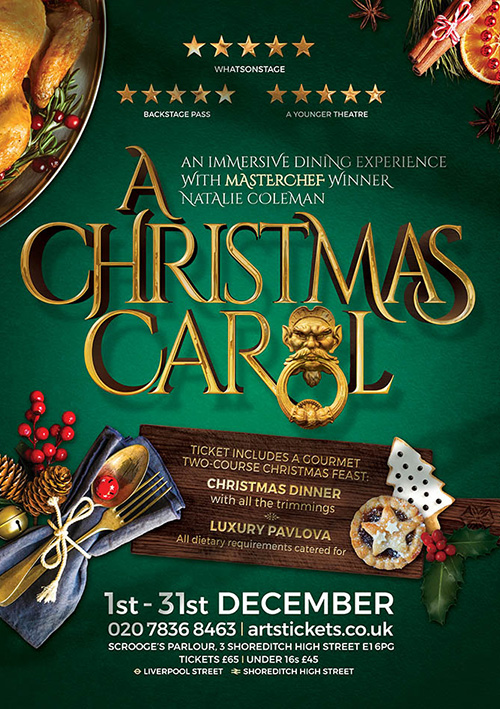 Poster design for festive Christmas dinner dining show A Christmas Carol