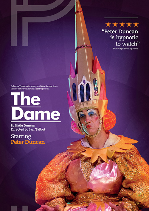 Theatre poster design for new play The Dame starring Peter Duncan
