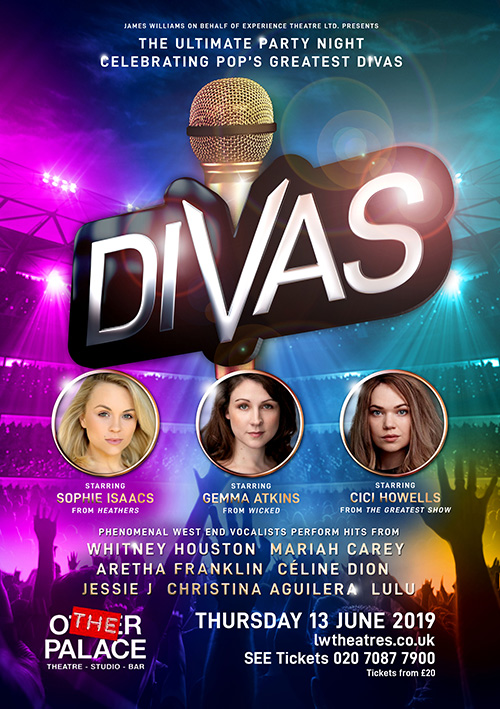 Divas concert performance poster and flyer design