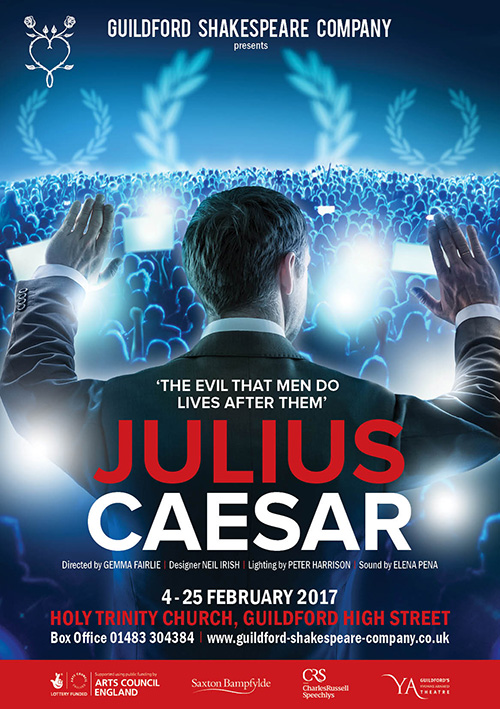 Publicity theatre poster design for Shakespeare Julius Caesar