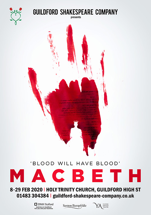 Striking theatre poster design for Shakespeare's play Macbeth