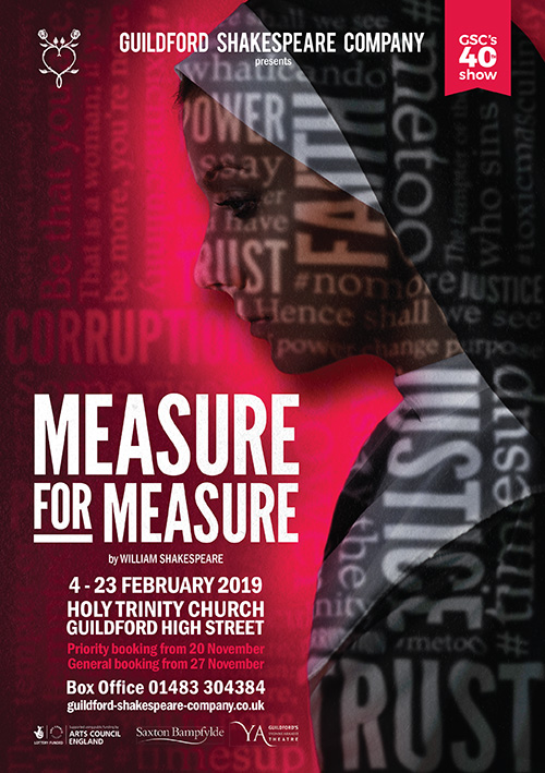 Shakespeare play theatre poster: publicity graphic design for Measure for Measure