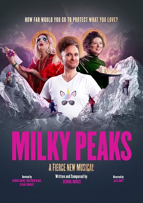 Theatre publicity graphic design for the new musical Milky Peaks for Theatr Clwyd