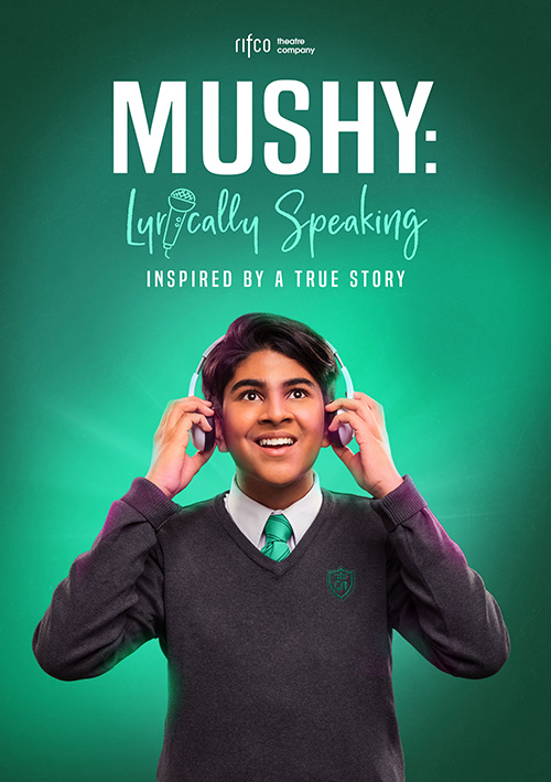 Musical Theatre poster publicity design for the British Asian play Mushy with rap and music