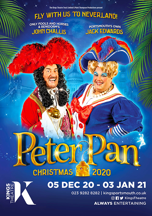 Family pantomime poster design for Peter Pan at Portsmouth theatre
