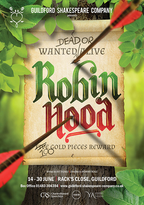 Children's show theatre publicity design for Robin Hood
