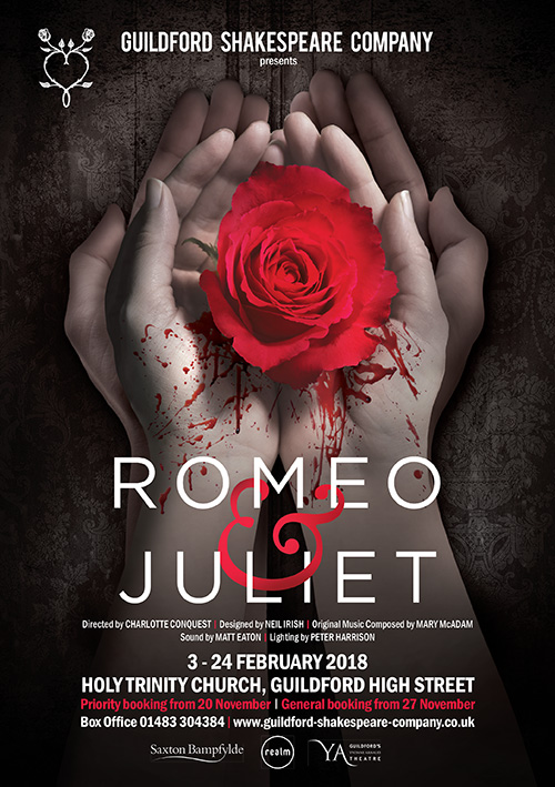 Shakespeare play theatre poster design for theatrical production of Romeo and Juliet