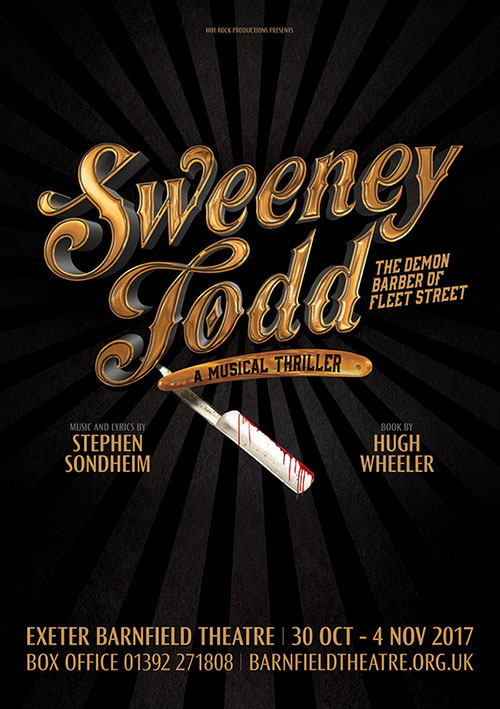 Musical theatre poster artwork design for Sondheim's Sweeney Todd