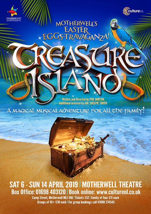 Publicity design including theatre poster, banner and theatre flyer design for kids' show Treasure Island
