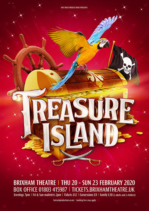 Easter pantomime theatre artwork design for the show Treasure Island