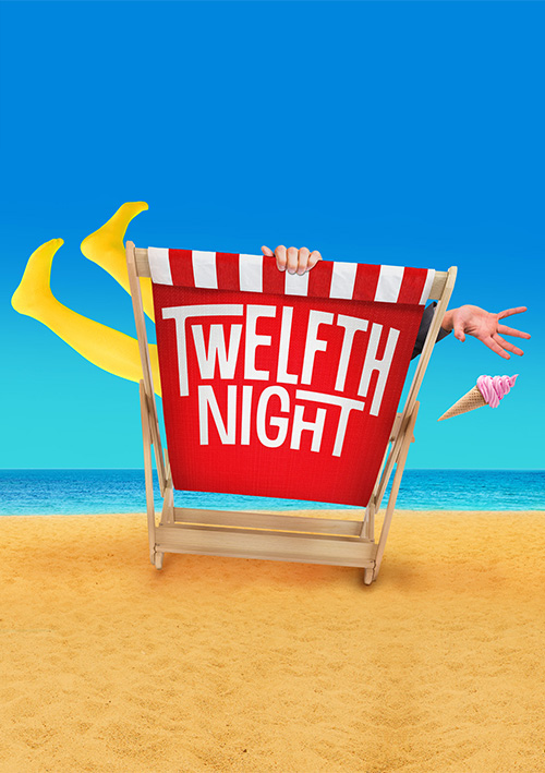 Shakespeare play theatre poster design for a seaside-themed Twelfth Night