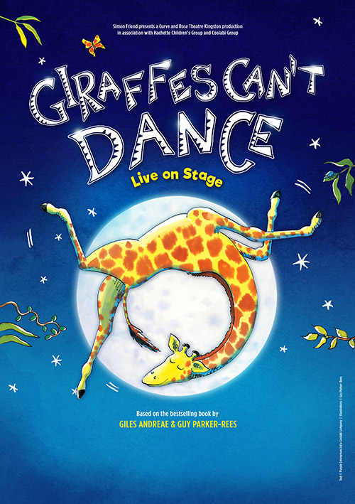 Children's show poster design for the UK tour of Giraffes Can't Dance