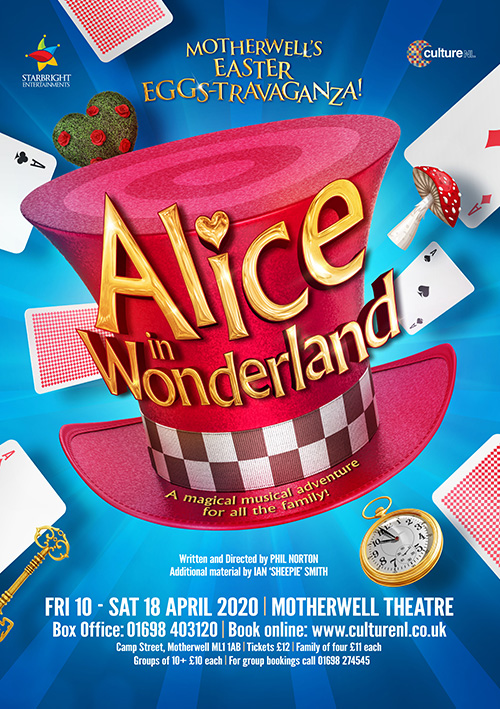 Easter pantomime poster design for the family musical show Alice in Wonderland