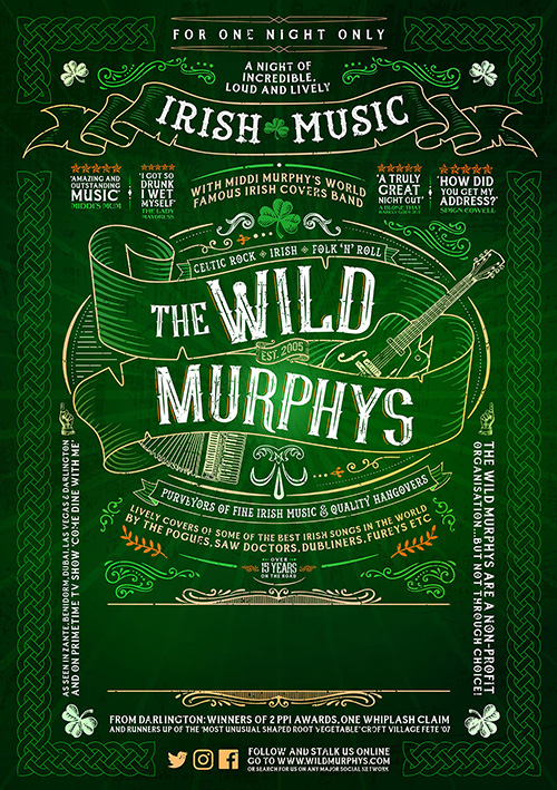 Irish band poster design for touring live musicians The Wild Murphys